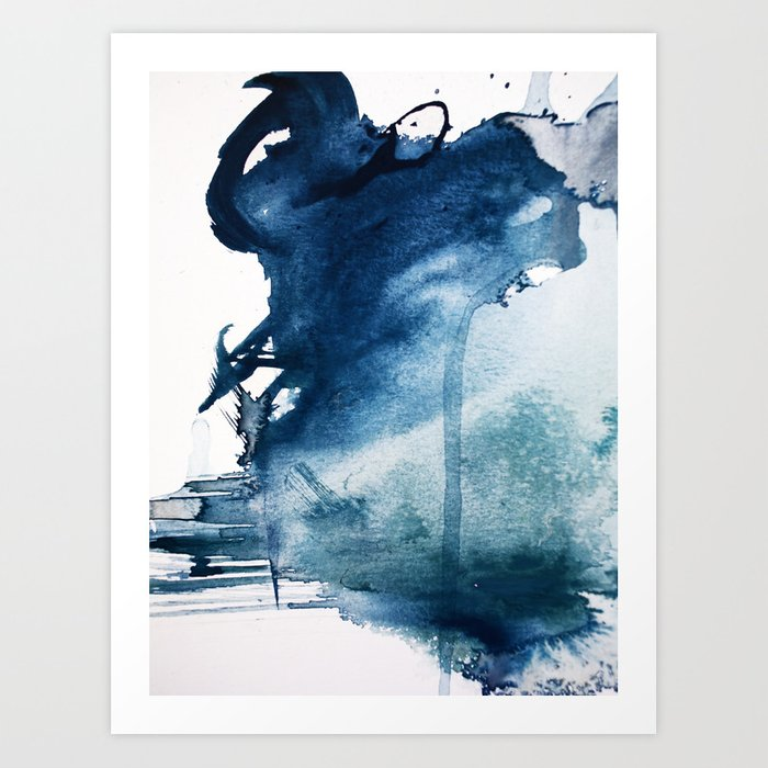 Pacific Grove: a pretty minimal abstract piece in blue by Alyssa Hamilton Art Art Print