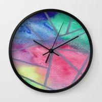 tie dye Wall Clocks featuring Tie dye by Bridget Davidson