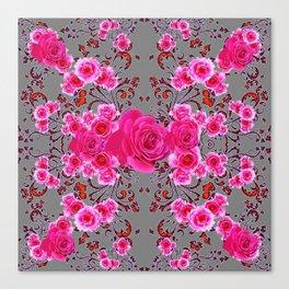 GREY &  CERISE PINK ROSES BROCADE PATTERN ART Canvas Print