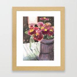 zinnias at sunset Framed Art Print