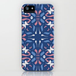 Blue and Rose Pink Mandala Portuguese Hand Painted Tile - Symmetry Geometric Texture - Abstract Royal iPhone Case