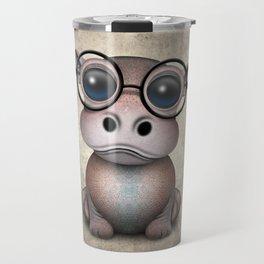 Cute Nerdy Baby Hippo Wearing Glasses Travel Mug