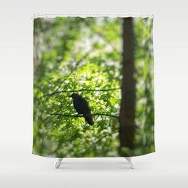 Black Bird Summer Green Tree Shower Curtain