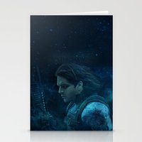 bucky barnes Stationery Cards featuring The Winter Soldier (Bucky Barnes) by thecannibalfactory