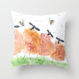Quirky Sheep among bumble bees Throw Pillow
