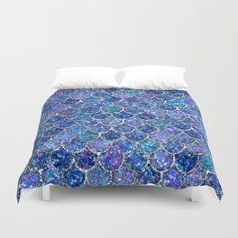 Sparkly Shades of Blue & Silver Glitter Mermaid Scales Duvet Cover