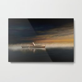 Man Rowing a Boat on a Misty Morning Metal Print
