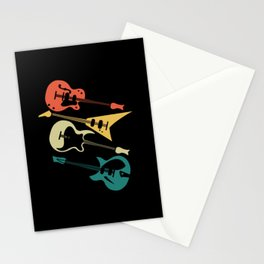 Retro Electric Guitar Instrument Gift Music Guitar Stationery Cards