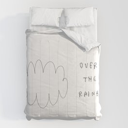 Someday - over the rainbow minimal cloud illustration Comforters