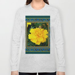DECORATIVE TEAL & YELLOW  MARIGOLD FLORAL  PATTERN Long Sleeve T-shirt