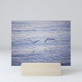 Seagulls on the seacoast near Alghero Mini Art Print