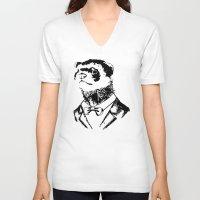 ferret V-neck T-shirts featuring Fancy Ferret by JK Designs