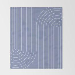 Minimal Line Curvature - Blue Throw Blanket