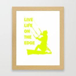 Live Life On The Edge Neon Yellow Kitebeach Framed Art Print