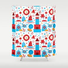 Pattern With Sea Icons O Crab Shower Curtains   Society6. Red And Blue Shower Curtain. Home Design Ideas