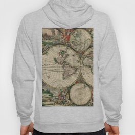 Vintage World Map print from 1689 Hoody