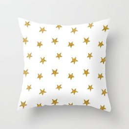 Merry christmas-Stars shining brightly-Gold glitter pattern Throw Pillow