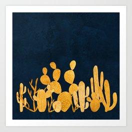Golden cactus garden Art Print