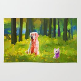 Two dogs in a wood Rug