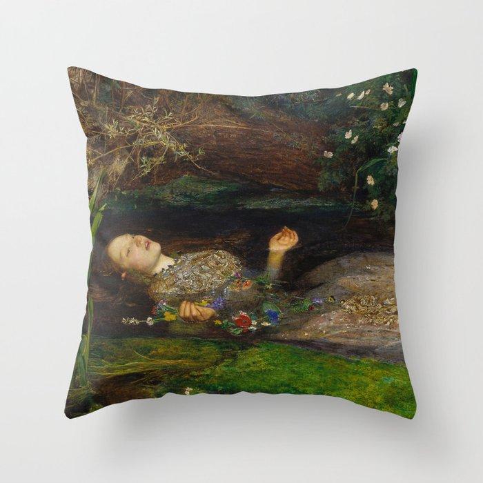 John Everett Millais - Ophelia Throw Pillow