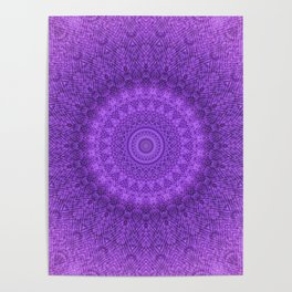Sunflower Plum Boho Feather Pattern \\ Aesthetic Vintage Bohemian \\ Dark Violet Purple Color Scheme Poster