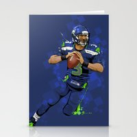 seahawks Stationery Cards featuring Russell Wilson QB 3 Seattle Seahawks by Akyanyme