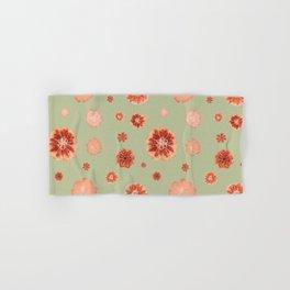 Large floral print on sage green backdrop Hand & Bath Towel