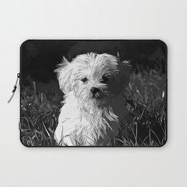 maltese dog vector art black white Laptop Sleeve