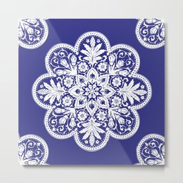 Floral Doily Pattern | Blue and White Metal Print