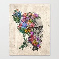hipster floral skull Canvas Print