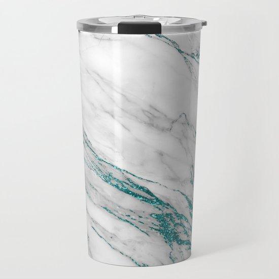 Gray Marble Aqua Teal Metallic Glitter Foil Style by originalaufnahme