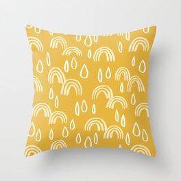 Rainbow Rain Pattern - Mustard Yellow Throw Pillow