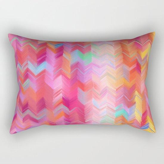Colorful painted chevron pattern - pink, purple, yellow, orange Rectangular Pillow