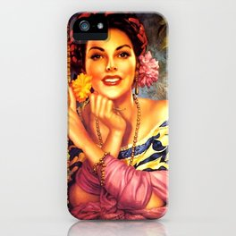 Jesus Helguera Painting of a Mexican Girl Beside Rattan Curtain iPhone Case