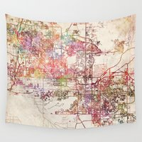 phoenix Wall Tapestries featuring Phoenix  by MapMapMaps.Watercolors