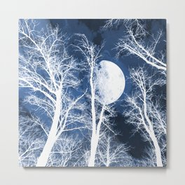 She walks the night in her silver shoon - Blue and silver moon and trees Metal Print