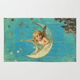 Vintage-Shabby-chic- Beautiful Christmas angel on aqua background Rug
