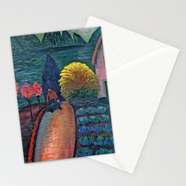 The Yellow Bush floral landscape painting by Marianne von Werefkin Stationery Cards