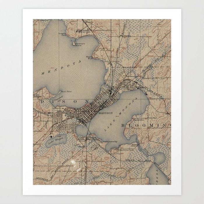 Vintage Map of Madison Wisconsin (1904) Art Print by bravuramedia ...