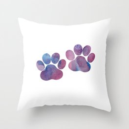 Dog Paw Prints Throw Pillow