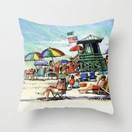 The Green Lifeguard Stand, Siesta Key Throw Pillow