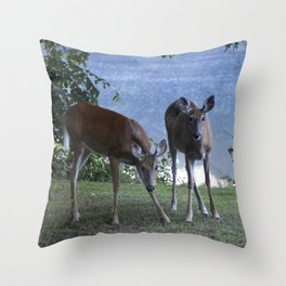 Grazing Deer Throw Pillow