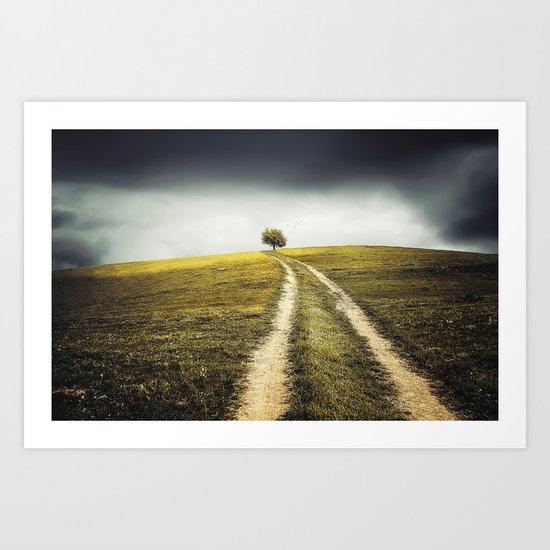 Grey sky Green tree 4 Art Print