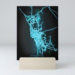 Jeddah, Saudi Arabia, Blue, White, Neon, Glow, City, Map Mini Art Print