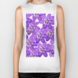 Purple wildflowers on a white background - spring atmosphere Biker Tank