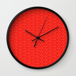 LOVE : Red Wall Clock