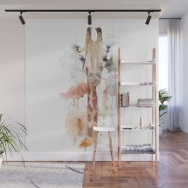 "Watercolor Painting of Picture ""Portrait of a Giraffe"" Wall Mural"