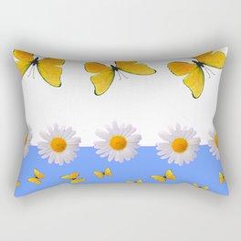 BLUE MODERN ART YELLOW BUTTERFLIES & WHITE DAISIES Rectangular Pillow