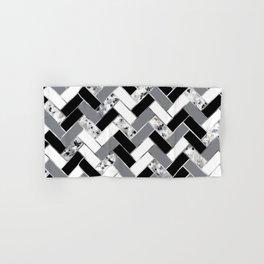 Shuffled Marble Herringbone - Black/White/Gray/Silver Hand & Bath Towel