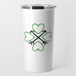 St. Patrick's Day Shamrock Lucky Charm Green Clover Veart with Arrows Travel Mug